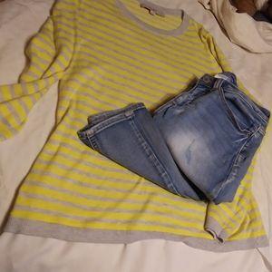 Beautiful yellow and grey Loft sweater